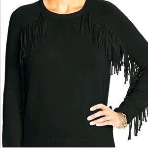 Rare RALPH Lauren Black western fringe sweater